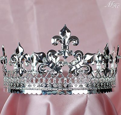 King Imperial Tiara Diadem Renaissance Rhinestones Crown Pageant Party Costumes