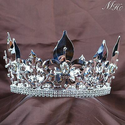 Men Imperial Crown Full Round Tiara Rhinestone Renaissance Pageant Party Costume