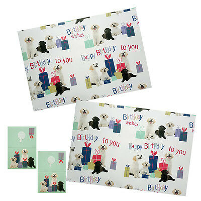 Labrador Dogs Gift Wrap Pack 2 Sheets 2 Tags Pups & Presents Birthday Wrap Paper