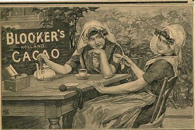 1897 Ad Engraving Blooker's Holland Cacao Cocoa