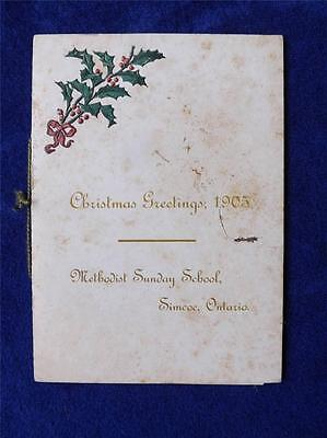 Christmas Greeting Card Vintage 1905 Methodist Sunday School Simcoe Ontario