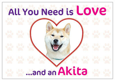 Funny Love and an Akita Dog Vinyl Car Van Decal Sticker Pet Animal Lover