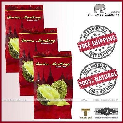 Freeze Dried DURIAN Monthong King Fruit Snack - 90g (3x30g) or 3.17oz (3x1.06oz)