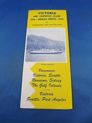 Brochure Princess Routes Ferry Rates Schedule 1954 Victoria Vancouver Island