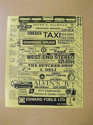 Phone Book Cover Goderich Ontario Canada Advertising Town Map Directory
