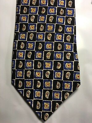 Farrell Reed Black Blue Gold Paisley Classic Silk Mens Neck Tie