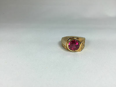 Vintage Ruby Like Men's Ring 14k Gold Plated Size 10