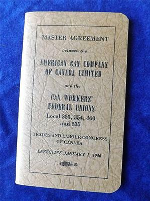 American Can Canada United Steel Workers America Unions Master Agreement 1956