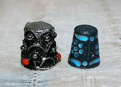 Decorated Metal Sewing Thimbles lot of two