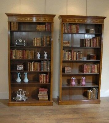 Pair Walnut Regency Sheraton Open Front Bookcases