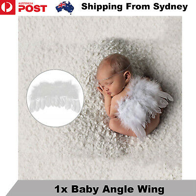 New Baby Infant White Angel Wings Feather Kids Fairy Party Costume Photo Props