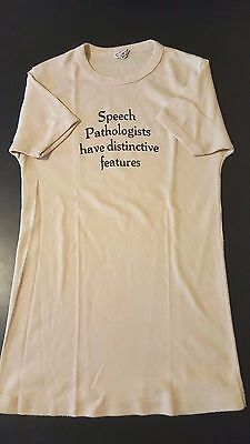 Vintage 70s Speech Pathologists Have Distintince Features T-Shirt Funny Language