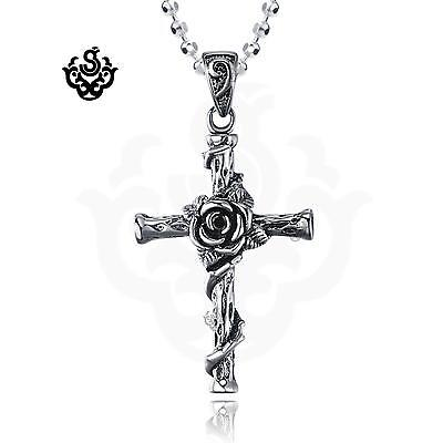 Silver wild rose cross Black crystal vintage style soft gothic pendant necklace