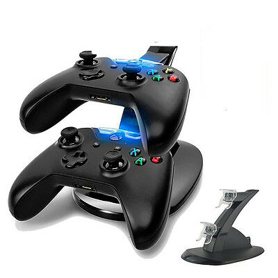 LED Light Dual Controller Charging Dock Station Charger for Xbox One Holder New