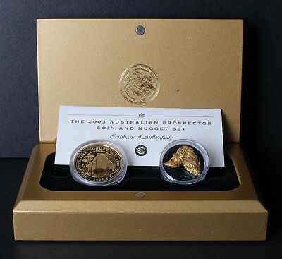 Australia 2003 Prospector 1oz Gold Coin and 1/4oz Nugget SET Only 150