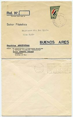 PARAGUAY 1945 FLAGS BISECTED 1c to ARGENTINA...PANAMA REMOVED...STAMP DEALER