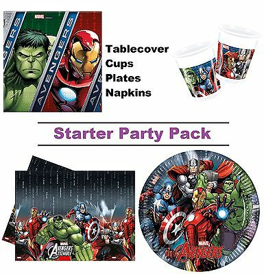 Marvel Avengers Power 8-48 Guest Starter Party Pack Cups | Plates | Napkins