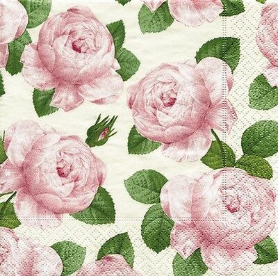 Redoute rose rose RHS rose pink pattern luxury paper table napkins serviette
