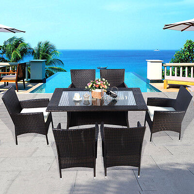 Brown Rattan Garden Furniture Dining Tabl Chairs Dining Set Outdoor Patio
