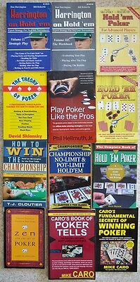 lot 14 poker Texas Hold Em book lot Caro Brunson Harrington TJ Cloutier Hellmuth