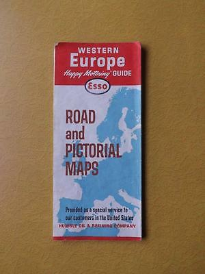 Map Esso Gas Service Advertisig Western Europe Pictorial Maps Humble Oil Company