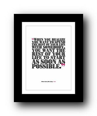 When Harry Met Sally ❤ Typography movie quote poster limited edition print #111
