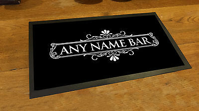 Personalised bar runner White Cocktail Label  counter mat pubs and clubs