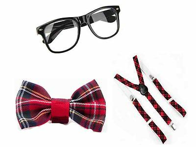 School Girl, Fancy Dress Scottish Party Unisex Pink Tartan Tie Dancewear