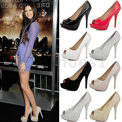 Womens Ladies Stiletto High Heel Platform Wedding Prom Peep Toe Court Shoes Size
