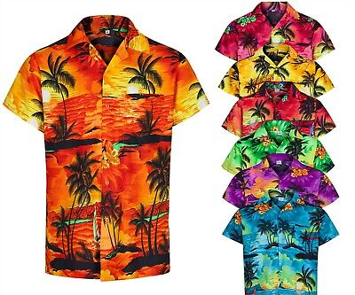 Mens Hawaiian Shirt Palm Tree Stag Beach Holiday Aloha Summer Fancy Dress S -2Xl