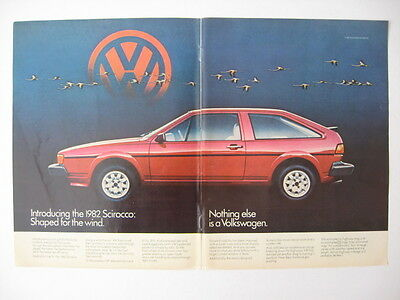 1982 VW Volkswagon Scirocco Shaped for the Wind Photo Print Ad Page
