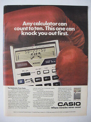 1982 CASIO Calculator Can Knock You Out BOXING Gloves Photo Ad Page