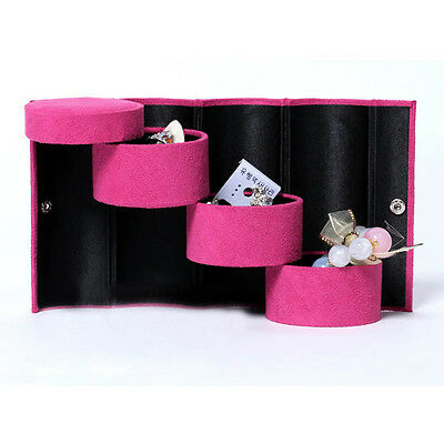 FP Bracelet Ring Necklace Earring Display Stand Travel Box - Rose Red