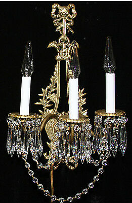 2 Antique Bronze Brass French Crystal Sconces Chandelier Vintage bird head laure