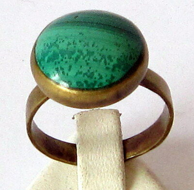 VINTAGE NICE BRONZE RING WITH MALACHITE STONE FROM THE EARLY 20th CENTURY # 586