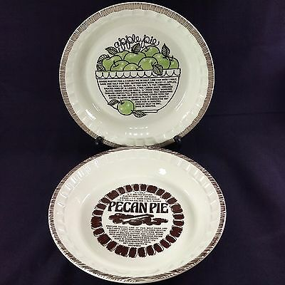 "2 Lot Royal China Jeannette 11"" Pie Plate Recipe Apple Pecan Oven Pan Dish USA"