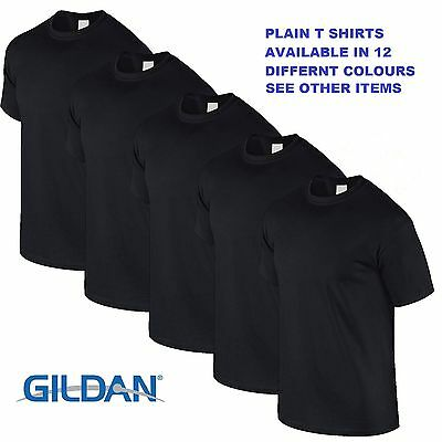 Black 1 5 10 20 Pack Mens Blank Gildan Plain Cotton T Shirts T Shirt Tee Top Lot