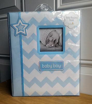 *NEW* Lil Peach Baby Boy Blue Chevron Record Memory Keepsake Book 1st 5 Years