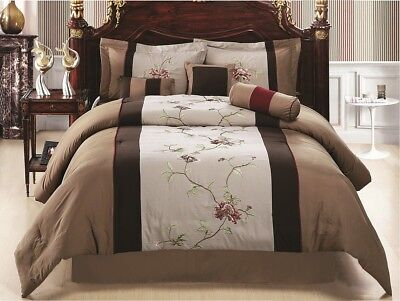 7-Piece Coffee Tan Floral Embroidered Comforter Set, Queen