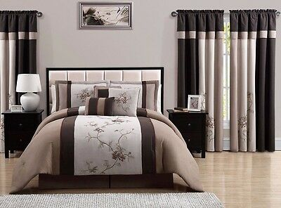 Chezmoi Collection 7-Piece Coffee Tan Floral Embroidered Comforter Set, Cal King