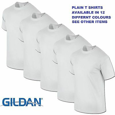 White 1 5 10 20 Pack Mens Blank Gildan Plain Cotton T Shirt T Shirts Tee Top Lot