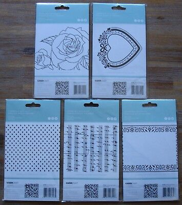 U Choose) 5 Embossing Folders Hearts Sheet Music Sketched Rose Heart Frame 4x6""