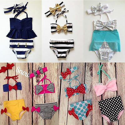 Kids Girls Swimmable Striped Polka Dot Bikini Suit Costume Monofin Swimwear