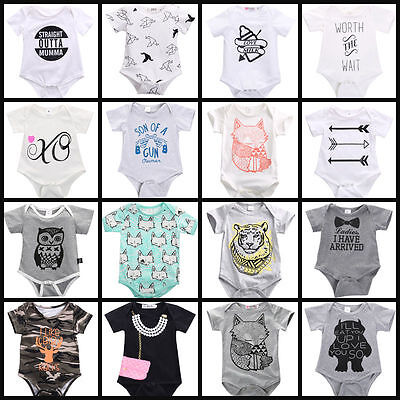Infant Baby Boy Girl Bodysuit Short Sleeve Romper Jumpsuit Outfits Clothes 0-24M