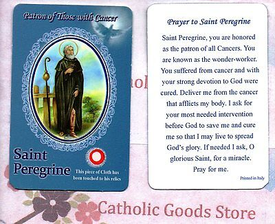 St. Saint Peregrine with Prayer (Style 1) - Relic Paperstock Holy Card