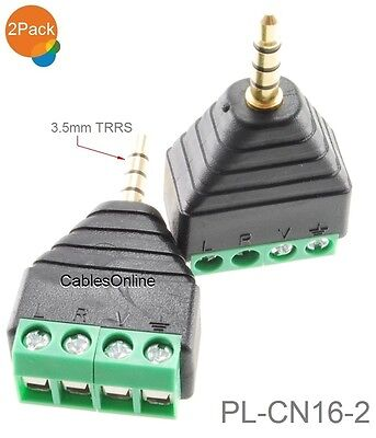 """2-Pack 3.5mm 1/8"""" TRRS Male Jack to AV 4-Screw Terminal Block Balun Connector"""