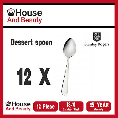 NEW Stanley Rogers Albany 12 Piece Dessert Spoon Set Quality Stainless Steel