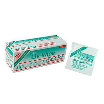 2 x Liv-Wipe Large Alcohol Wipes 65 x 56mm 70% Isopropyl Alcohol 100 pieces/Box