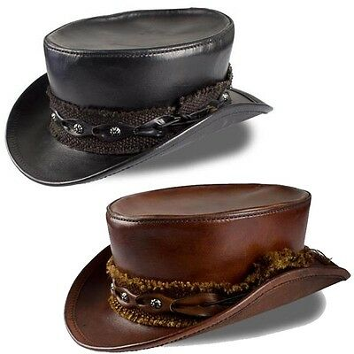 Quality Leather Top Hat. For Costume Re-enactment Or LARP Black or Brown