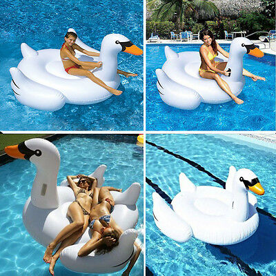 White Summer Lake Swimming Lounge Pool Kids Rideable Swan Inflatable Float Toy
